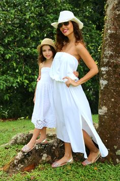 50d4a6531be Beautiful white Cotton dresses form mums and daughters at Baliza Shop
