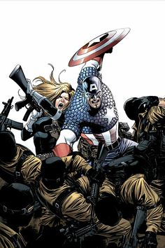 Captain America and Sharon Carter by Steve Epting