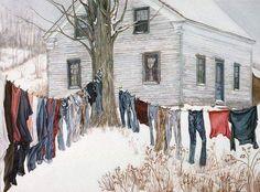 Winter clothes line Mary Cassatt, Laundry Art, Laundry Lines, Pierre Bonnard, Vintage Laundry, Vincent Van Gogh, Farm Life, Country Life, Monet