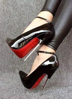 Black leather leggings and ankle strap stiletto heels #highheelbootsankle #stilettoheelsplatform #redstilettoheels