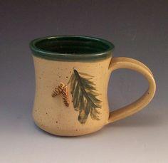 Handmade Pottery Pine Cone Mug by AnneMariesPottery on Etsy, $18.00