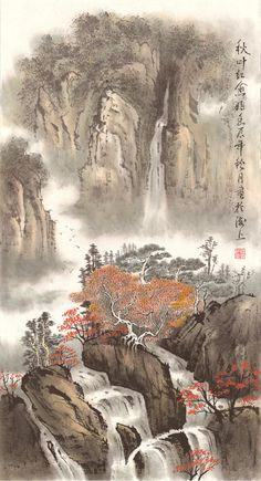 Cherry Blossom  Original Chinese Landscape by 1804Creation on Etsy, $389.00
