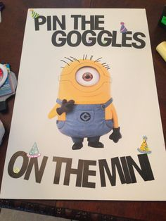 despicable me themed birthday party | Pin the goggles on the minion despicable me birthday party.