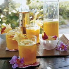 A simple yet exotic cooler mixes pureed mango, golden rum, and pineapple juice into a tropical treat.