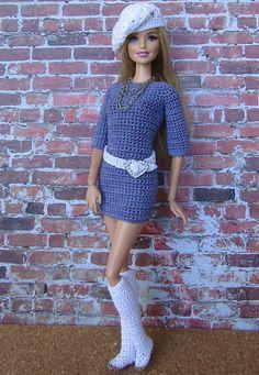 Barbie Crochet Gown, Crochet Barbie Patterns, Barbie Gowns, Barbie Dress, Barbie Clothes Patterns, Crochet Barbie Clothes, Girl Doll Clothes, Barbie Et Ken, Barbie Fashionista Dolls
