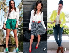 Try pairing a white blouse with brights for summer.