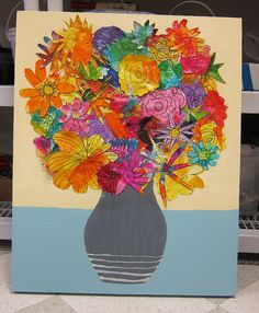 "Art auction or great lesson idea for multi media-do as collage at end of year of flowers they've created in their ""I'm done"" time."