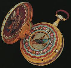 A spectacular singing Bird Automaton Watch in gold and enamel. Rochat and Breguet.