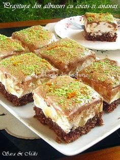 Coconut and Pineapple Cake ~ Culorile din farfurie Romanian Desserts, Romanian Food, Sweet Recipes, Cake Recipes, Dessert Recipes, Something Sweet, Dessert Bars, Let Them Eat Cake, Just Desserts