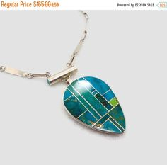 ON SALE Turquoise Necklace, Sterling Silver, Native American, Vintage Pendant, Zuni Inlay, Green Blue, Silver Chain, Big Statement, Large Pi