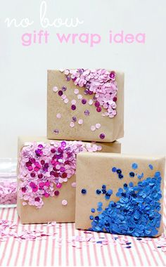 Bow Quick Gift Wrap A unique gift wrapping idea! Love that it's no bow :) good for when you run out of ribbonsA unique gift wrapping idea! Love that it's no bow :) good for when you run out of ribbons Present Wrapping, Creative Gift Wrapping, Creative Gifts, Unique Gifts, Gift Wrapping Ideas For Birthdays, Birthday Wrapping Ideas, Diy Wrapping, Creative Ideas, Christmas Gift Wrapping