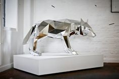 Mirrored Geometric Animals by Arran Gregory taxidermy sculpture mirrors animals