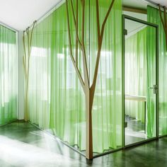 Sheer curtains opens up unexpected possiblities for creatively using this iconic window design feature. Curtain Fabric, Panel Curtains, Office Curtains, Store Toile, Glass Film Design, Feng Shui, Rideaux Design, Clinic Design, Acoustic Panels