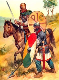 """Late Eastern Roman Empire cavalryman and infantryman. The """"Chi-Rho"""" (XP) symbol on one of the shields indicate that there was already a heavy influence from Christianity."""