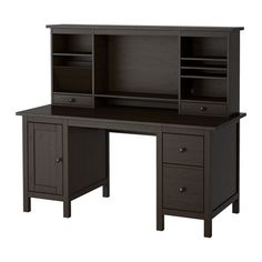 IKEA - HEMNES, Desk with add-on unit, black-brown, , You can make room for a computer monitor or extra storage by adjusting the middle shelf.</t><t>You can collect cables and extension cords on the shelf under the table top, so they're hidden but still close at hand.</t><t>Cable outlets for easy cable management.</t><t>You can adjust the file frame in the lower drawer to fit letter or legal size papers.</t><t>Solid wood is a durable natural material.</t><t>You can mount the drawers to the…