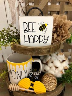 Small Sign for tiered tray. *Includes Mini Sign Only* Bee Tiered Tray Sign. Small Sign for tiered tray. Lemon Kitchen, Tray Styling, Tiered Stand, Bee Crafts, Bee Happy, Summer Crafts, Decorating Blogs, Tray Decor, Seasonal Decor
