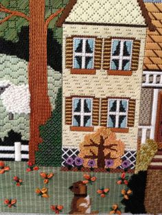 steph's stitching needlepoint autumn house