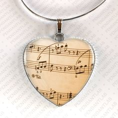 Music Notes Pendant Music Necklace Old Sheet Music by PendantLab