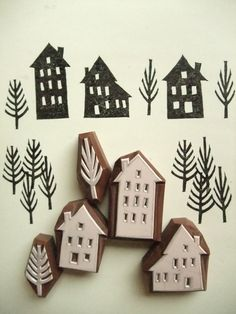 Make your own stamps with a razor knife and foam, carve any shape youd like and attach it to a chunk of woos or milk jug lid, etc.  WINTER STREET - hand carved rubber stamp set - 3 houses - 2 trees.