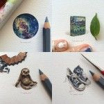 A New 100-Day Miniature Painting Project by Lorraine Loots Tackles Vintage Book Covers, the Cosmos, and Furry Animals