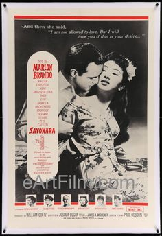Happy Birthday #MarlonBrando https://eartfilm.com/search?q=marlon+brando #Brando #actors #acting #Broadway #theater #AStreetcarNamedDesire #TheGodfather #movies    Sayonara R60s-1957 27x41 Linen Backed U.S Military One Sheet Movie Poster