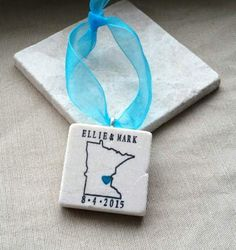 Personalized Minnesota State Outline Ornament Wedding Favors By MyLittleChick