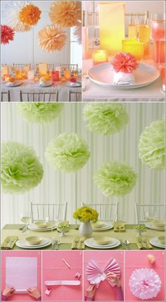 Paper Pom Pom Decor- I'm thinking black and red for my boyfriends birthday
