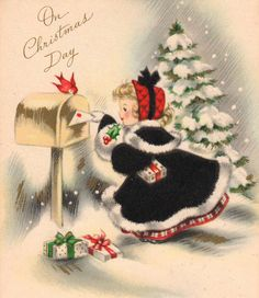 Vintage Christmas Card Little lady mails a Christmas card. Vintage Christmas Images, Old Christmas, Old Fashioned Christmas, Christmas Scenes, Retro Christmas, Vintage Holiday, Christmas Pictures, Christmas Crafts, Christmas Girls