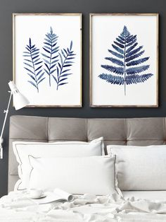 Fern Leaves Navy Blue Poster Woman Birthday Gift Idea. Abstract Leaf Minimalist Watercolour Painting. Ferns Botanical Shibori Colors Art Print. Kitchen Wall Decor Plant Illustration. A price is for the set of 2 watercolor Fern paintings as shown on the first photo. Type of paper: