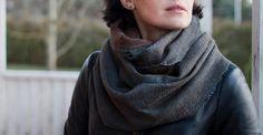 Brown wool scarf chunky scarf felted grey by AureliaFeltStudio