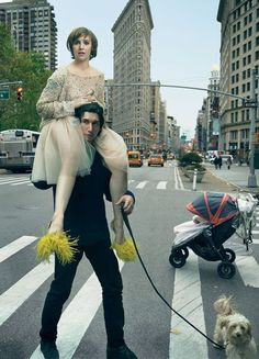 Lena Dunham & Adam Driver by Annie Leibovitz for Vogue Feb 2014