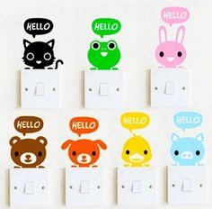 Lot 7pcs Light Switch Sticker Cat Animal Cartoon PVC Vinyl home Decal fun cute