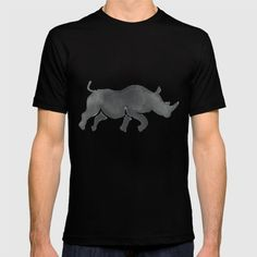 Rhinoceros Silhouette Running Watercolor T-shirt. Watercolor style illustration of a silhouette of a rhinoceros running view from the side set on isolated white background. #illustration #Rhinoceros