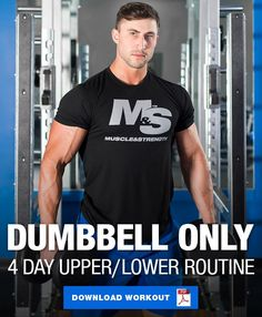 Dumbbell Only Workout: 4 Day Upper/Lower Dumbbell Workout Routine This dumbbell only upper/lower workout program only requires dumbbells and is perfect for those looking to build lean muscle mass at home or on the go! Dumbbell Workout Routine, Dumbbell Workout At Home, Full Body Workout Routine, Body Workout At Home, Body Weight Circuit, Workout Plan For Men, Workout Plans, Workout Men, Fitness Motivation