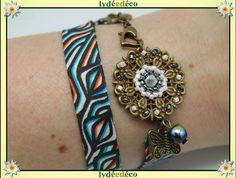 Bracelet ethnique estampe Fleur liberty Afrique orange turquoise blanc noir perles laiton bronze : Bracelet par lydeedeco