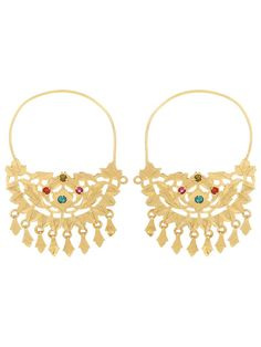 Handcrafted Gold Tone Silver Earrings