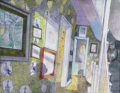 """Cat among Pigeons"" by Edward Bawden (watercolour)"