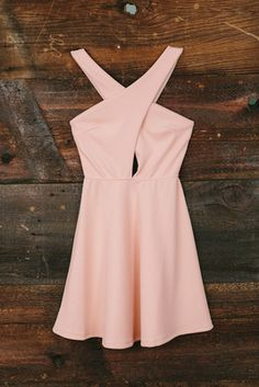 criss cross light pink dress