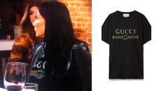 Gucci Gal! Get the scoop on Danielle Staub's Gucci T Shirt here: https://www.bigblondehair.com/danielle-staubs-black-gucci-t-shirt/ #RHONJ Real Housewives of New Jersey Season 8 Episode 8 Fashion