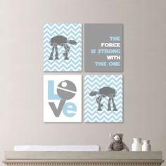 Baby Boy Nursery Art - Star Wars Nursery Decor - Light Blue Gray