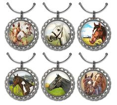 Wine charms with beautiful vintage horse images. Perfect party favors, or a great gift for the equestrian on your list.  Made with lightweight flattened bottle cap 1.25. Image is 1.  This listing is for a set of 6 Horse wine charms shown in the first two photos . If you need more, we have additional images. Let us know how many you wish to purchase, & well set up a custom listing & send you the link.  Arrives in a drawstring bag....nice for storage & gift giving.  To see more Horse and…