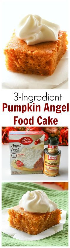 Pumpkin Angel Food Cake: You'll never believe how easy this fall dessert is. And only 126 calories a Pumpkin Angel Food Cake: You'll never believe how easy this fall dessert is. And only 126 calories a slice. Mini Desserts, Just Desserts, Delicious Desserts, Yummy Food, Yummy Snacks, Weight Watcher Desserts, Low Carb Dessert, Oreo Dessert, Cake Mix Recipes