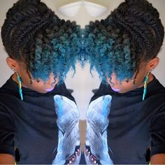 Coiled/Hyper-Curly hair with blue ombre bangs. Be Natural, Natural Hair Tips, Natural Hair Styles, Natural Beauty, Natural Updo, Natural Life, Flat Twist, My Hairstyle, Afro Hairstyles