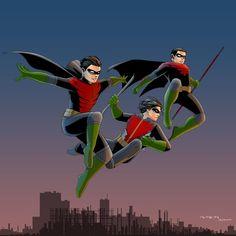 From left to right, Dick Grayson, Jason Todd, Tim Drake Robin's Legacy Nightwing, Batgirl, Timothy Drake, Dc Comics, Maggie Sawyer, Tim Drake Red Robin, Runaways Marvel, Bat Boys, Comic 8