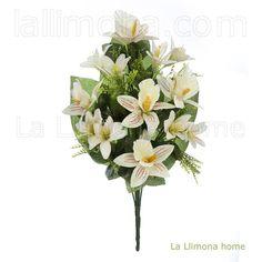 Ramos artificiales cementerios y jardineras Todos los Santos. Ramo flores artificiales cymbidium amarillo y lily 47