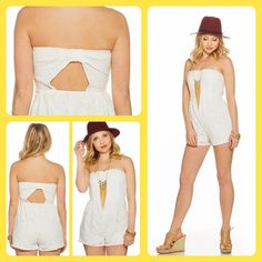 White Lacey Crochet Strapless Bow Romper! NWT. Size large. 90% polyester and 10% spandex. Fully lined polyester inside. Cute back cutout and bow across back. Made in the USA. Retails for $32.95. Smoke & pet free home! Vanity Other