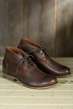 98a44f967642 Men s brown leather lace up Chukka boots