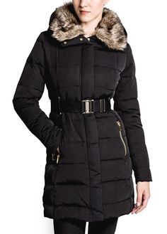 Belted down feather long coat