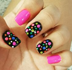 Birthday nails french polka dots 42 Ideas for 2019 Diy Nails, Cute Nails, Pretty Nails, Gorgeous Nails, Dot Nail Art, Polka Dot Nails, Polka Dots, Gel Nail Art Designs, Nails For Kids