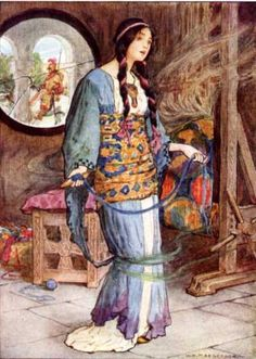 Painting by W. H. Margetson. THE LADY OF SHALOTT.